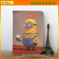 HOT Smart Cover Minion Case for iPad 2 3 4 with Leather Minion Case for iPad Mini