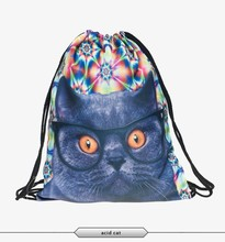 2016 Fashion vintage cat backpack drawstring bag 3D print manufacturers high quality best selling promotion custom tote tutorial