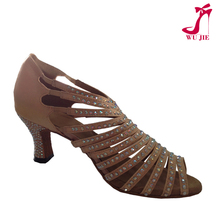 USA sexy dress design nude satin crystals dance shoes /girls ballroom and latin dance shoes