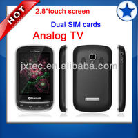 2013 cheap quad band 2 sim touch sceen TV cell phone3860