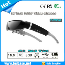 "Full HD 98""inch 1080P Video Glasses/3D Virtual Video Glasses/Video Glasses,Support TF Card,AV In&VGA In"