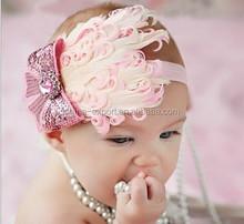 JPHAIR1504552 New style baby feather headband baby girl elastic hiar accessories