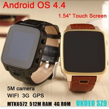 luxury 5 mega pixels camera MTK6572 dual core 512M 4G WCDMA GPS waterproof android 4.4 wrist watch phone android with wifi 3g
