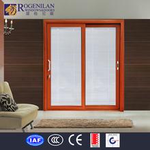 Rogenilan modern design 3 panel sliding glass door glass insert blind