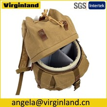 Khaki Cute Casual Canvas Digital Camera Backpack for Outdoor