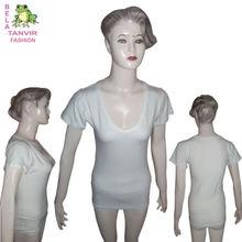 T-Shirt women cotton mix lycra pure white