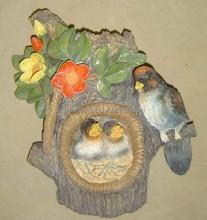 artistic resin garden decoration, polyresin animal lovery birds with flower, utdoor animal garden decorations