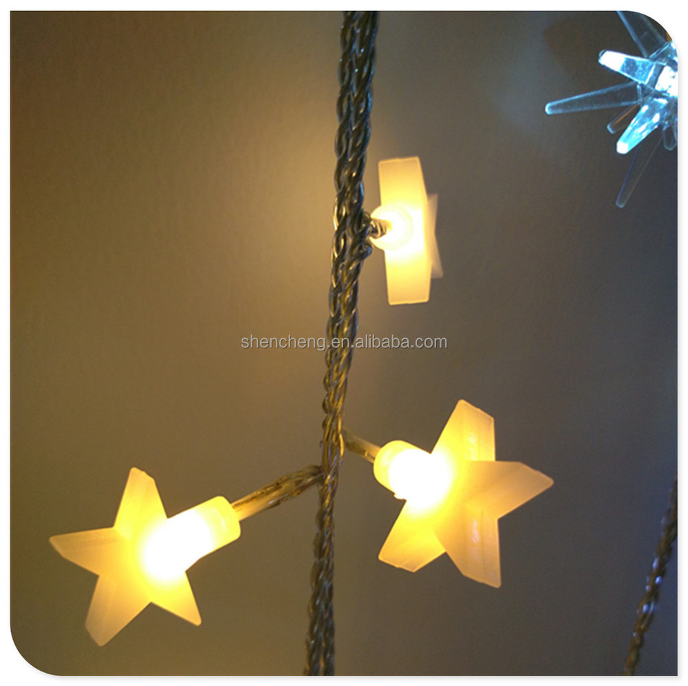 Led christmas star shaped warm white light chain with