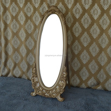Factory direct sale beautiful makeup gold painted folding standing mirror