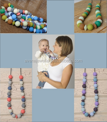 SN13 Popular Baby Teething Silicon Necklace Baby Jewelry Wholesale Baby Safe Silicone Mom Nursing Jewelry Necklace