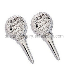 Unique Silver Golf Ball and Tee crystal golf earrings