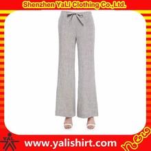 2015 new style cheap bulk drawstring mix size wide leg soft linen ladies fashion trousers design