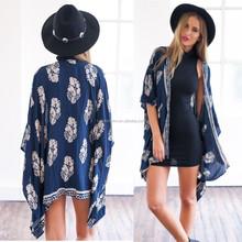 New Arrival 2015 Long Cardigan Women Tassels Beach Boho Fringe Floral Kimono LK8235