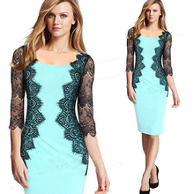 MS20315A Sexy women fashion boat neck lace split joint office ladies wrap dress