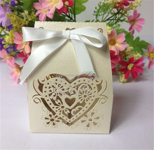 New arrival pearl paper bowknot favor gift box with ribbon laser cutting wedding paper candy box