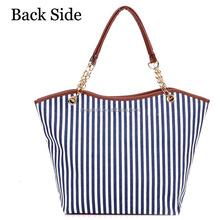 2015 Korean new handbag chain canvas striped women fashion handbag