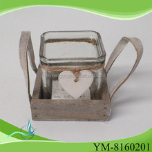 glass candle holder with wood base with cheap price