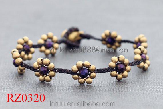 Neu kommen modische schmuck geschenk für mädchen vergoldet mode handgemachte blume samen armband für jahrestag