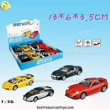 1:36 PULL BACK DIE-CAST VEHICLE WITH LIGHT&SOUND METAL CAR ALLOY CAR 4 DESIGNS CAN BE ASSORTED