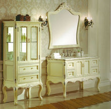 #WST249 elegant ivory antique baroque solid wood marble top bathroom vanity base cabinet with baroque mirror