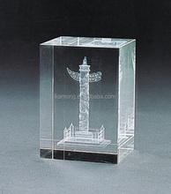 Designer home decor 3d crystal internally engraved pillars for gift use
