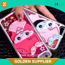 Latest design for iphone 6 mirror girl liquid sand hard cellphone case