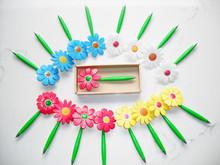 2015 popular flower shape ball pen with a pot