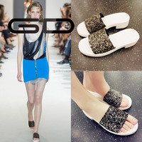 2015 summer fashion women casual beach sequined slippers female flat with flat sandals for lady