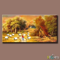 beautiful handmade autumn village scenery painting, farm working painting