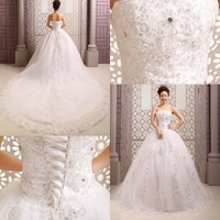 2015Wedding Dresses High Quality Bride Married Lace White Embroidery Crystal Princess Plus Size Bandage Tailing Wedding Dresses