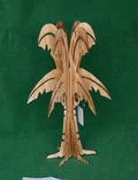 Home decoration wooden carving christmas tree with burnt color