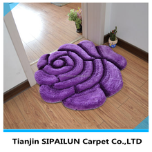 Purple high quality 3D single rose design turkish rug