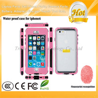 Waterproof Mobile Phone Case for iPhone 6 With Fingerprint Access Pink