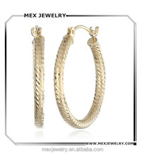 Gold Silver sparkling Shining Diamond-Cut Big Round Loop Hoop Earrings for Women