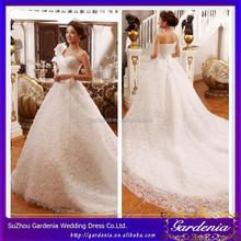 Charming White Ball Gown Sweetheart Beaded Hand-made Flower Sleeveless Lace-up Back Wedding Dress With Long Tail AC104