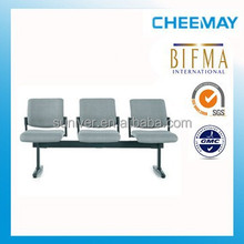 BIFMA standard comfortable armless 3 seater bus station / hospital waiting chair