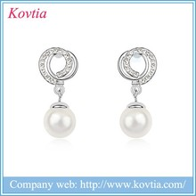Pearl pendant crystal earring fashion accessories handmade sliver women jewelry crystal earring wholesale jewelry factory