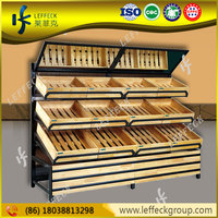 Leffeck luxury wooden with metallic fruit and vegetables display case in favorable price