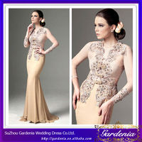 Latest Design Nude Color Appliques Beaded Chiffon Mermaid Long Sleeve Evening Dress Modern Kebaya Dress (ZX540)