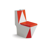 Ceramic colored red wiith white one-piece washdown toilets for bathroom using