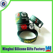 fashion james bond movie star engraved color filled silicone wristband