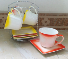 Unique colorful ceramic cut-edge coffee cup and saucer wholesale