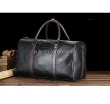 New Black travel Classic Genuine pu Leather Luggage Messenger Shoulder Bag