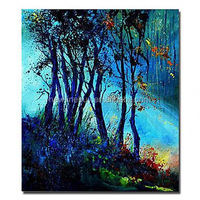 modern night view wall art hand painted Canvas mystery forest Painting canvas picture landscape