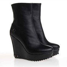 Retro of genuine leather platform shoes high heel wedges boots for women 2014 hot style