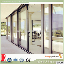 Powder coated double glazing soundproof partition sliding door