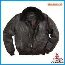 G1 Leather pilot jacket,slim fit leather bomber jacket men