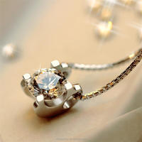 T400 fashion jewelry 925 sterling silver pendant necklace with cubic zircon diamond