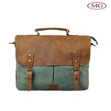 2015 Vintage style canvas&crazy horse genuine leather messenger bag with one long shoulder belt