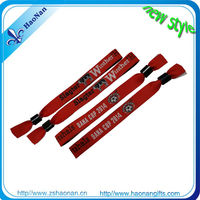 2014 hot sale gift custom different logos bracelet with names hot designs fabric wristband with metal ring aluminum